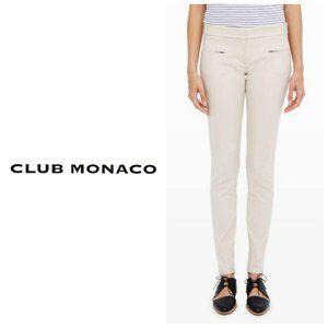 CLUB MONACO Cream Cotton Zip Pocket Slim Trousers